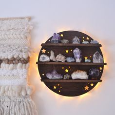 A beautiful illuminated Full Moon Crystal Shelf Wall Lamp, made out of thick Poplar and designed with dainty stars cut right through! This Wall light can hang easily on the wall or be placed on top of surfaces, it is also cordless,powered by 3 bat. Crystal Room Decor, Crystal Bedroom, Crystal Shelves, Witch Room, Geometric Shelves, Spiritual Decor, Meditation Space, Plywood Furniture, My New Room
