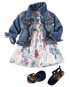 Baby Girl Eyelet Sleeve Botanical Print Dress from OshKosh B'gosh. Shop clothing & accessories from a trusted name in kids, toddlers, and baby clothes. Little Girl Outfits, Toddler Girl Outfits, Little Girl Fashion, Baby Girl Dresses, Toddler Fashion, Kids Fashion, Girl Toddler, Fashion Clothes, Baby Dress