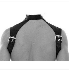 BDSM Bondage Male Neck Collars Chest Harness Strap Fetish Restraint Belt Costume PU Leather Clubwear Lingerie Sex Toys For Men