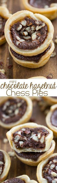 Mini Chocolate Hazelnut Chess Pies - mini bite sized pies that taste like a melted hazelnut brownie!