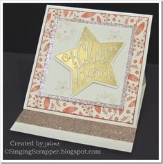 CTMH White Pines paper pack, Gold Glitter Paper, and Christmas Star stamp set heat embossed with Gold embossing powder.