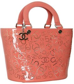 Chanel coral perforated patent leather bucket tote