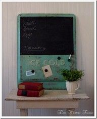 chalkboard made from vintage soda cooler door by Flea Market Trixie