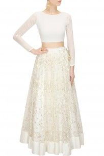 White sequins embroidered lehenga with crop top