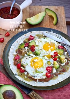 Chile Verde Huevos Rancheros. Mexican Egg Breakfast. A little bit of spice to get my morning going.