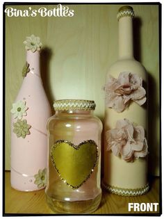 Decorated Glass Bottle/Vase  Home by BinasBottles on Etsy