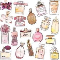 Rebellious yet Romantic shared by Roseanne on We Heart It - Imagen de elie saab, perfume bottles, and miss dior - Mini Parfum, Parfum Miss Dior, Bottle Drawing, Beauty Illustration, Foto Art, Aesthetic Stickers, Elie Saab, Fashion Sketches, Cute Stickers