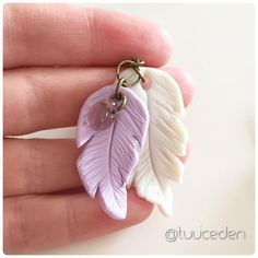 Polymer clay feather necklace