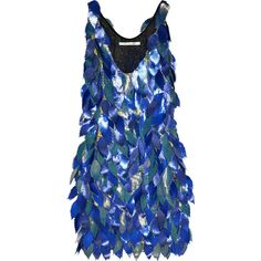 Diane Von Furstenberg Silk Leaf Dress ❤ liked on Polyvore featuring dresses, vestidos, blue, vestiti, women, diane von furstenberg, silk dress, petal dress, abstract print dress and no sleeve dress