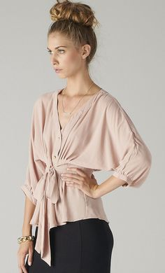 Pleated Chiffon V-Blouse