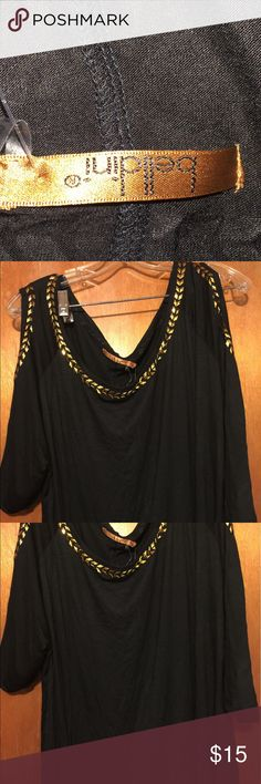 Plus Size Cold Shoulder Shirt This is a black cold shoulder shirt with gold trim . So cute ! Belldini Tops Tees - Short Sleeve