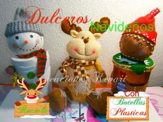 Muñeco de nieve Dulcero (con botellas plásticas) | Aprender manualidades es facilisimo.com