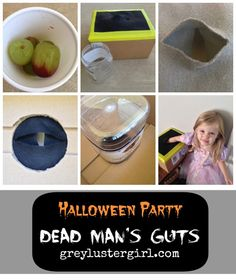 Dead Man's Guts Halloween Party Game including the food ideas used and a DIY box to reach in!
