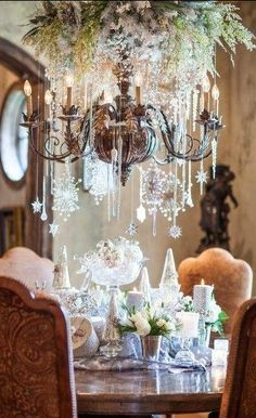 Love the enormous chandelier,such a festive dining area , from Iryna