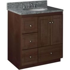 Simplicity by Strasser Ultraline 30 in. W x 21 in. D x 34.5 in. H Vanity with Left Drawers Cabinet Only in Dark Alder 01.311.2 at The Home Depot - Mobile