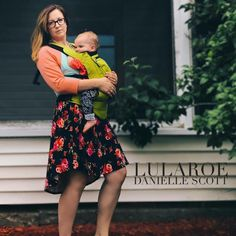 LuLaRoe Outfit OOTD:  EPIC unicorn floral Carly in legging material, layered under a mint and Coral Randy Baseball Tee.  And of course baby wearing my sweet baby in my Ergo.  She happens to be wearing some butter soft Leggings & Gracie Tee