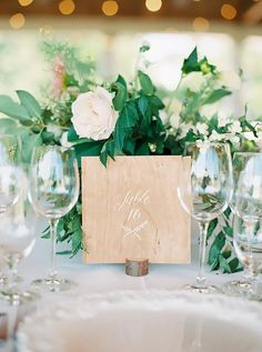 WE ♥ THIS!  ----------------------------- Original Pin Caption: Wooden Table Number Holder