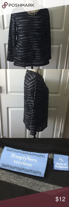 """3/$20 - Simply Vera Knit Top Sz PL. Approx. Measurements: L-R 20"""""""" before stretching (40"""" around); Pit to bottom hem 16.5""""; Pit to Bottom Sleeve 17.5"""" I dry clean my clothes so the fit as sized. Measurements provided. Excellent condition.            #JEWELRY #POSHMARK #BLING #RODEO #FASHIONISTA #COWGIRL #SOUTHWEST #ARIAT #AZTEC #WESTERN #CHIC #FAITH #RUNWAY #CROSS #TRIBAL #BOHO #KENDRA #NAVAJO #STELLA  #SOUTHERN #SPARKLE #CHIC 💜🦄 Simply Vera Vera Wang Tops Blouses"""
