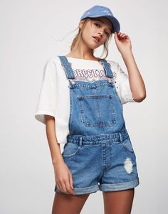 Denim dungarees - Dungarees & Jumpsuits - Clothing - Woman - PULL&BEAR United Kingdom