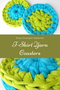 Learn how to crochet T-Shirt Yarn Coasters with this easy tutorial! Crochet Home, Crochet Yarn, Crochet Stitches, Free Crochet, Crotchet, Tunisian Crochet, Learn To Crochet, T Shirt Yarn, T Shirt Diy