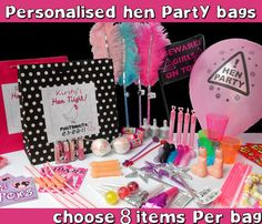 HEN NIGHT PARTY GIFT BAG ** FILLED** - CREATE YOUR OWN   eBay Hen Party Bags, Party Gift Bags, Party Gifts, Hen Night Ideas, Hen Ideas, Hen Nights, Personalized Gift Bags, Sister Wedding, Wedding Invitations