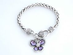 Purple Crystal Butterfly Bracelet - ShoppingWithAdam.com