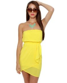 Cute Yellow Dress - Strapless Dress - Casual Dress - $38.00