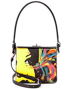 Prada Saffiano Leather Neon Face Print Satchel