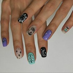 Cute Gel Nails, Funky Nails, Pretty Nails, Bling Nails, Swag Nails, Nail Piercing, Witchy Nails, Nail Patterns, Fire Nails