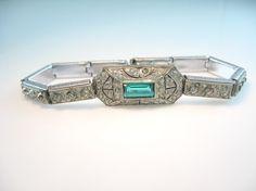 Vintage Art Deco Emerald & Clear Rhinestone by bohemiantrading, $145.00