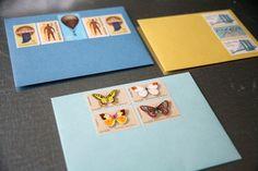 pre-stamped letter sets, with vintage stamps! $16
