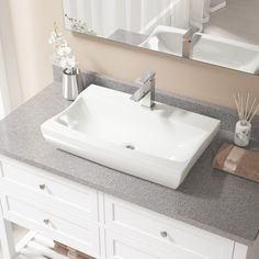 MR Direct V2302-Bisque Porcelain Sink with Faucet and Pop-up Drain in