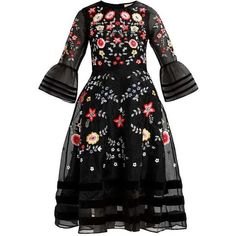 BRYELLE FLORAL MIDI DRESS Cocktailklänning black ❤ liked on Polyvore featuring dresses, floral print midi dress, floral pattern dress, floral design dresses, calf length dresses and flower print dress