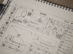 UI & Wireframe Sketches for your Inspiration - Web Design Ledger Web And App Design, Site Web Design, Design Design, Graphic Design, Icon Design, Design Thinking, Wireframe Design, Interface Design, User Interface