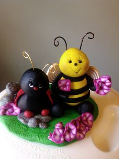 Bee and Ladybug cake topper or decoration indoor or outdoor