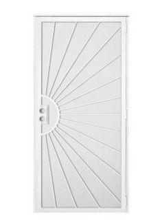 White sun burst mid century modern security screen door.