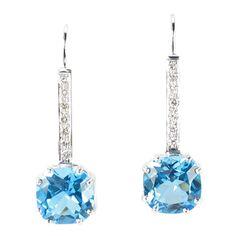 Cushion Cut Blue Topaz Diamond Gold Drop Earrings   From a unique collection of vintage drop earrings at http://www.1stdibs.com/jewelry/earrings/drop-earrings/