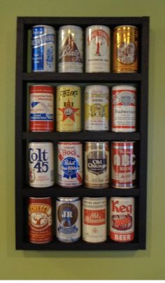 Beer Can Wood Display Shelf - *Cans Not Included* Regal Display, Wood Display, Display Shelves, Display Cases, Display Ideas, Beer Bottle Crafts, Craft Beer, Beer Crafts, Beer Can Man Cave