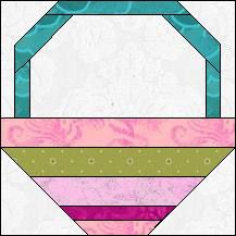 Block of Day for February 09, 2016 - Flower Basket-foundation-paper piecing -The pattern may be downloaded until:Sunday, February 28, 2016.