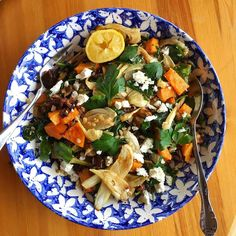 #meatfreemonday post #skiing supper of roasted butternut squash aubergine & fennel with @waitrose pearl barley & feta dressed with sumac & tahini lemon dressing. Definitely got our vegetables in today for #fiveaday & #slowreleasecarbs to #refuel after the #workouts. Beautiful bowl belonging to @carolynasome #winterfitness #nutrients #seasonal #seasonal #vegetarian #fresh #foodie #healthyfoodporn #leanmeals #wheatfree #healthyeating #healthyfoodie #colourful #friends