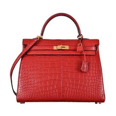 HERMES KELLY BAG 35cm ROUGE H MATTE ALLIGATOR | From a collection of rare vintage handbags and purses at https://www.1stdibs.com/fashion/accessories/handbags-purses/