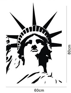 Modern Building American New York City Landmark The Statue Of Liberty Construction Wall Decals ColorfulHall Statue Of Liberty Tattoo, Wooden Spoon Crafts, American Flag Art, Outline Art, Card Making Supplies, Centenario, Pencil Art Drawings, Visual Communication, Diy Wall Art