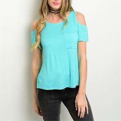Mint cold shoulder tee 5% Lycra!! Soft, comfy top features cold shoulder design, front pocket detail & relaxed fit. Tops Tees - Short Sleeve