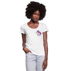 Geschenke Shop | Einhorn Buntes Einhorn Süßes Einhorn - Frauen T-Shirt mit U-Ausschnitt Shirt Diy, Dye T Shirt, Neck T Shirt, Crew Neck Sweatshirt, Pullover, Hibiscus, Fashion Online Shop, Lips Shirt, T Shirt Sport