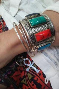 Multi Color Cuff Bracelet – Bohemian Dreamin Chunky Jewelry, Silver Jewelry, Bangles, Bracelets, Bohemian Jewelry, What To Wear, Fashion Jewelry, Afghanistan, Metal