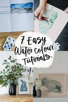 7 Easy watercolor projects for beginners that I have shared in my last 7 years blogging! They're perfect watercolor paintings for home decor, gifts, and parties. #WaterColors #Tutorial #Painting Watercolor On Wood, Watercolor Projects, Watercolor Lettering, Watercolour Tutorials, Watercolor And Ink, Watercolor Paintings, Watercolor Ideas, Watercolor Techniques, Diy Artwork