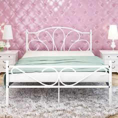 $149.99 GreenForest Queen Size Bed Frame with Headboard and Footboard Mattress Foundation No Box Spring Needed,Sturdy Metal Frame Premium Steel Slats Support,White