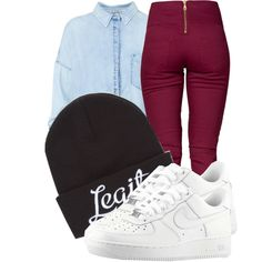 """""""Too legit to quit , basic fashion style, but all white Nike air force 1s low."""" by trillest-fashionx on Polyvore"""