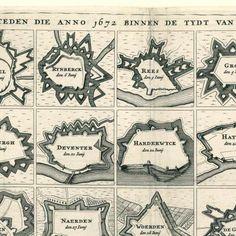 Afbeeldinge van alle de stercke steden die anno 1672 binnen de tydt van 2 maenden aen de France etc zyn overgegaen [en] d' 17 Neederlantse Proventie met de aengrensende landen als Vranckryck Ceule Munst. etc., anoniem, 1674 - Rijksmuseum Old Maps, Antique Maps, Star Fort, Know Your Place, Roman Architecture, Walled City, Fortification, World Star, Historical Maps