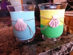 My glass candle holders beach theme